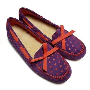 UGG heart print purple and red slippers bedroom